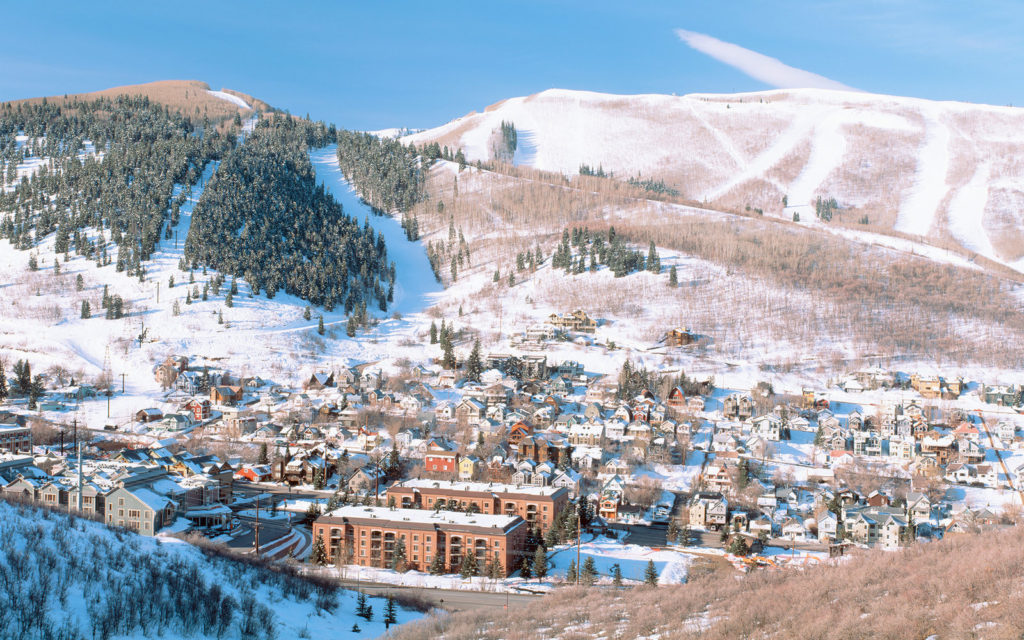 Town in a mountain valley, Park City, Utah, USA